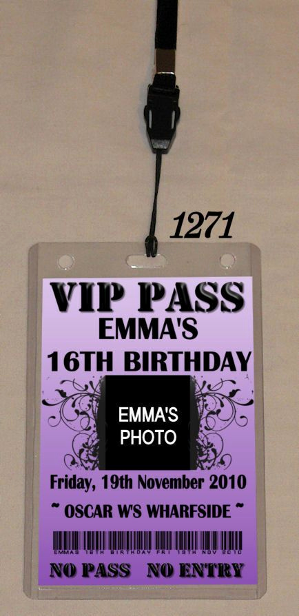 Vip Pass Invitation with Lanyard Elegant Hens Night Party Vip Pass Invitation & Lanyard 1270