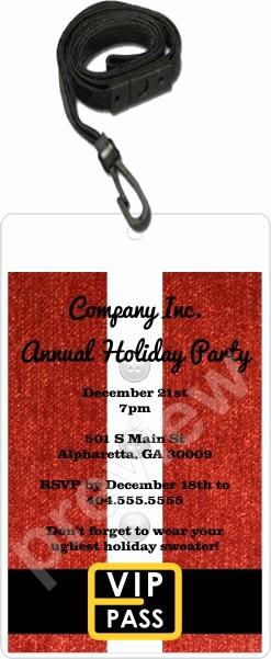 Vip Pass Invitation with Lanyard Elegant Santa Christmas Holiday Vip Pass Invitation with Lanyard