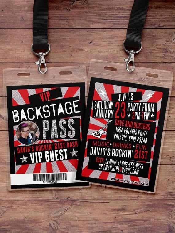 Vip Pass Invitation with Lanyard Elegant Vip Pass Backstage Pass Concert Ticket Birthday Invitation