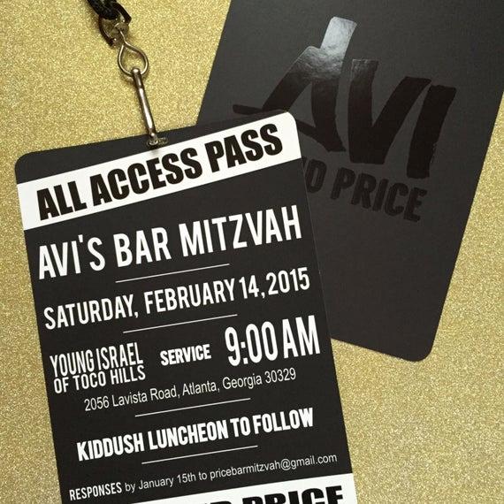 Vip Pass Invitation with Lanyard Elegant Vip Pass Bar Bat Mitzvah Invitation with Lanyard Spot Gloss
