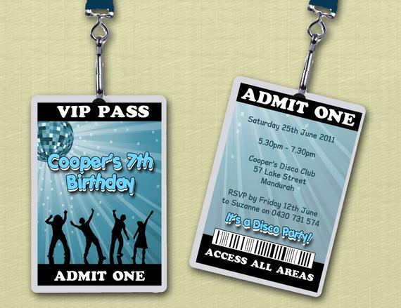 Vip Pass Invitation with Lanyard Fresh Personalised Disco Vip Lanyard Invitations X 10