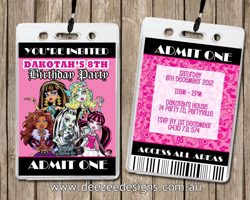 Vip Pass Invitation with Lanyard Fresh Personalised Monster High Vip Lanyard Birthday Invitations
