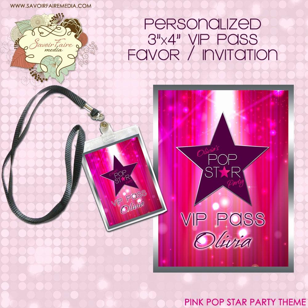 Vip Pass Invitation with Lanyard Fresh Pink Pop Star Rock Star Party Printable Vip Pass Lanyard