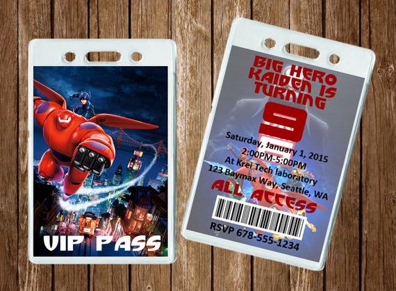 Vip Pass Invitation with Lanyard Inspirational Big Hero 6 Vip Pass Invitation 5 Invites Includes