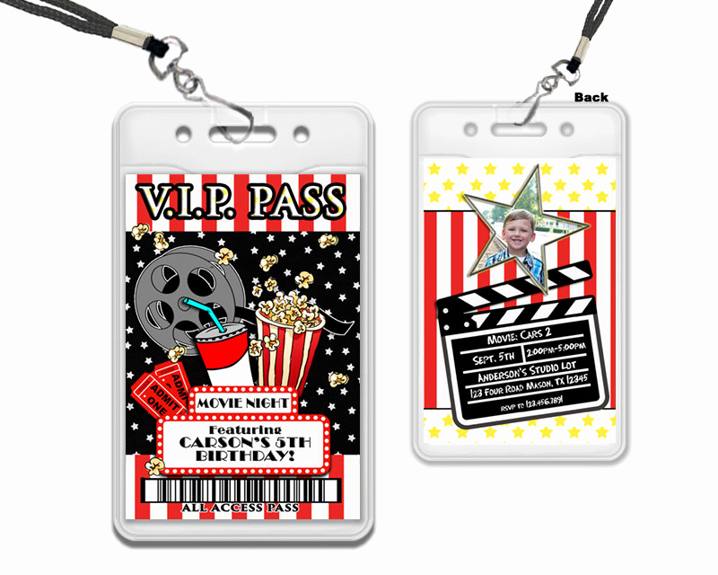 Vip Pass Invitation with Lanyard Lovely Red Carpet Vip Pass Lanyards Movie Night Invitation Movie