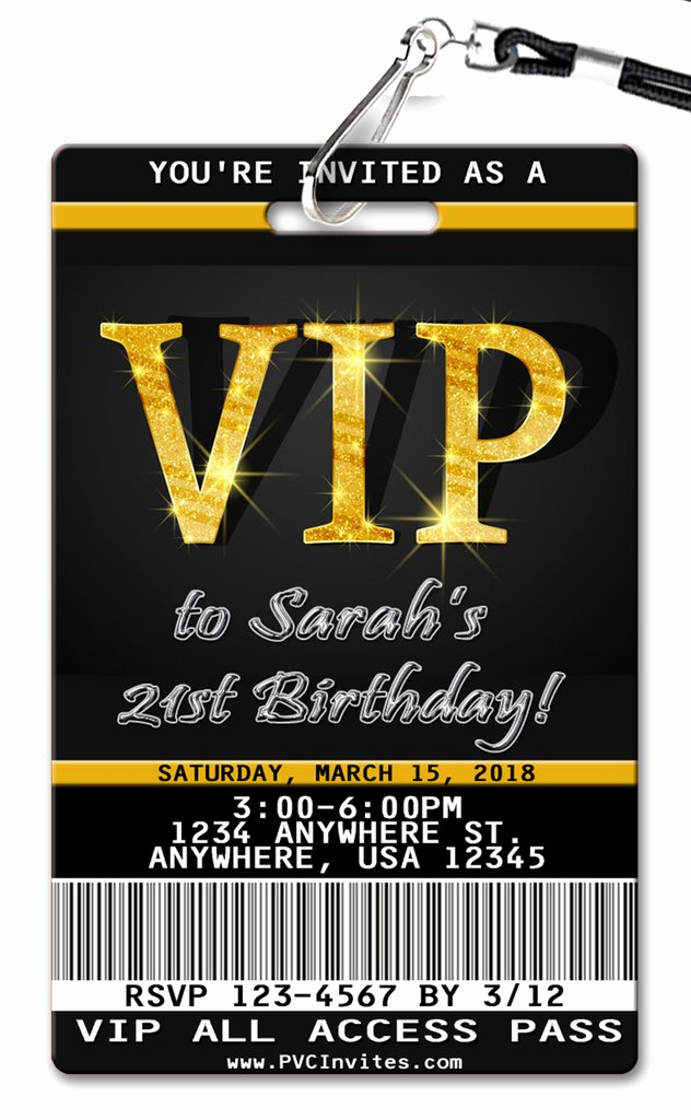 Vip Pass Invitation with Lanyard Lovely Vip Pass Birthday Invitation Pvc Invites Vip Birthday