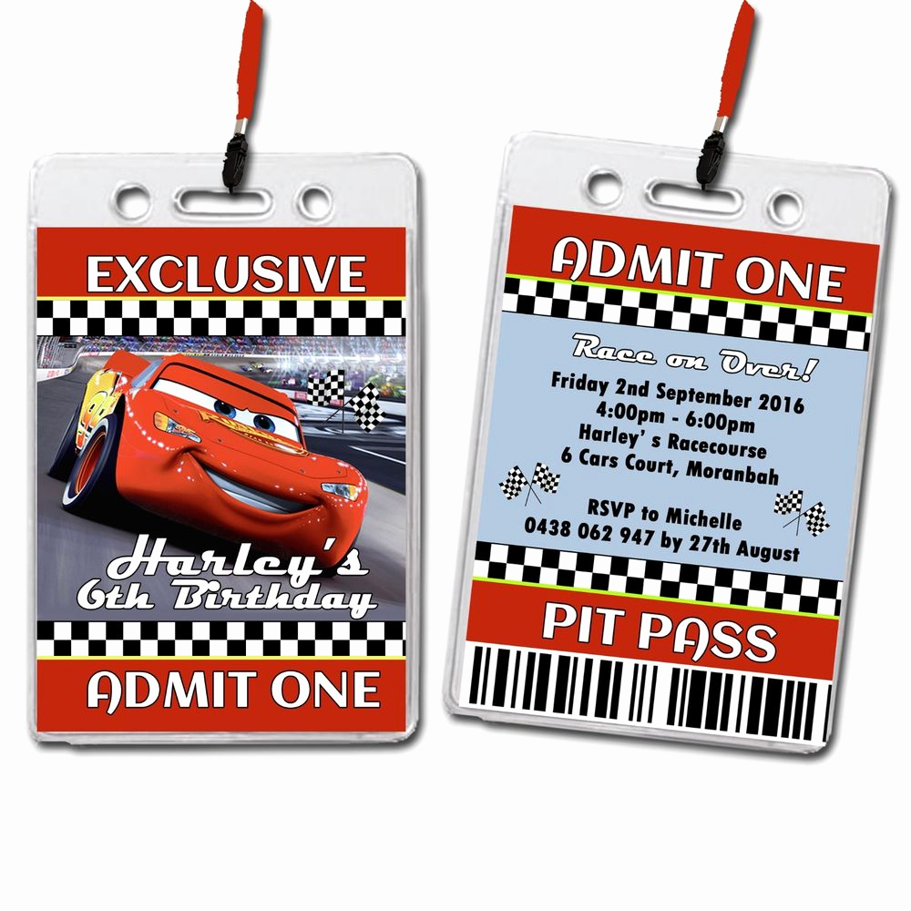 Vip Pass Invitation with Lanyard Luxury Cars Lightning Mcqueen Personalised Vip Lanyard Birthday