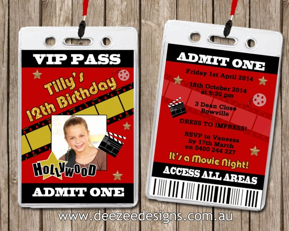 Vip Pass Invitation with Lanyard New Personalised Hollywood Movie Vip Lanyard Invitations X