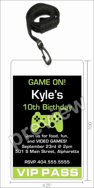 Vip Pass Invitation with Lanyard New Video Game Vip Pass Invitation with Lanyard Select Color