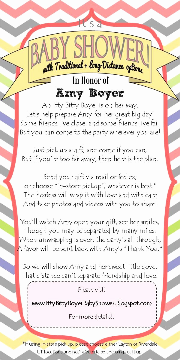 Virtual Baby Shower Invitation Wording Beautiful Long Distance Baby Shower Invitation I Wrote This Cute