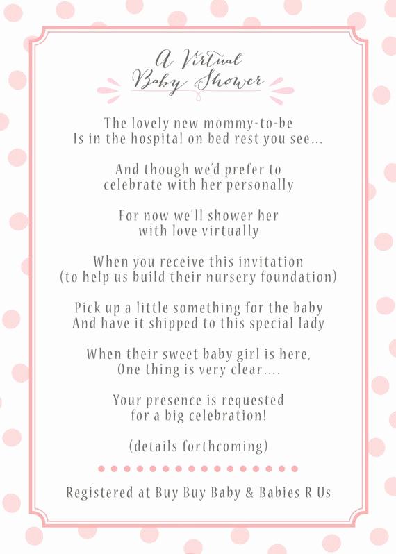 Virtual Baby Shower Invitation Wording Inspirational Items Similar to Virtual Baby Shower Invitation On Etsy