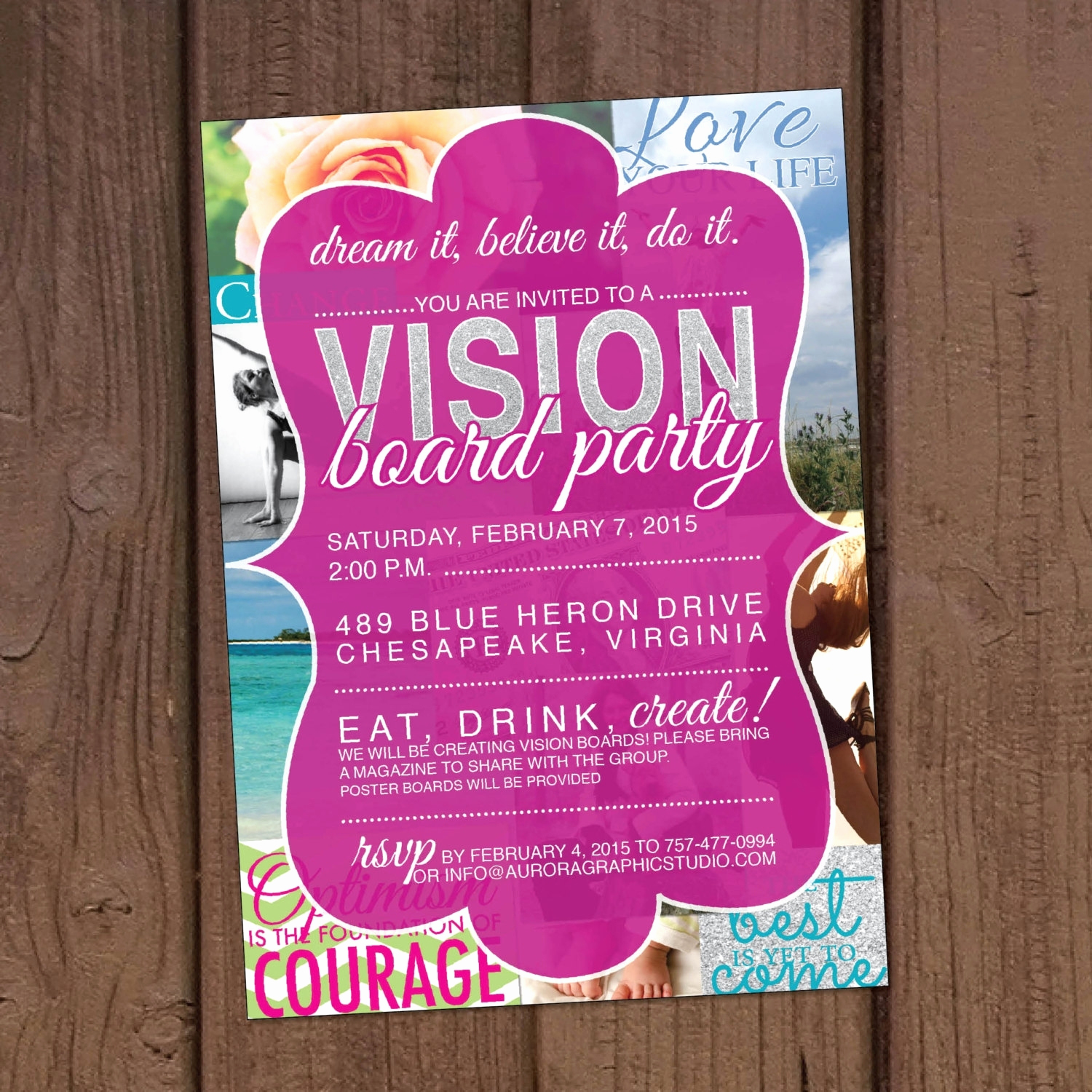 Vision Board Party Invitation Awesome Vision Board Party Invitation Cobypic