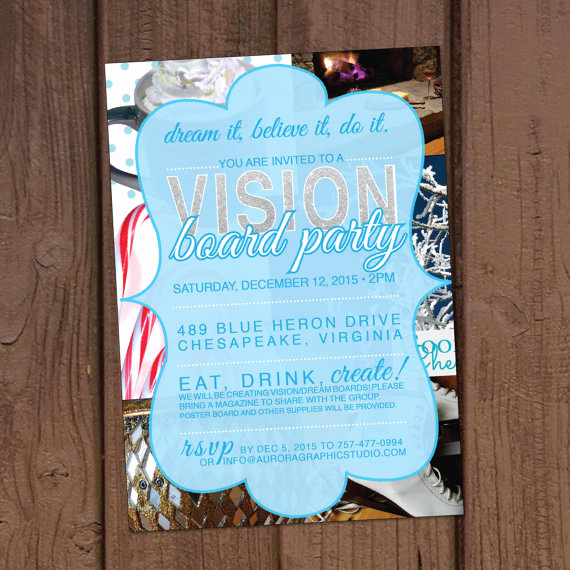 Vision Board Party Invitation Beautiful Winter Christmas Vision Board Party Invitation by Aurora