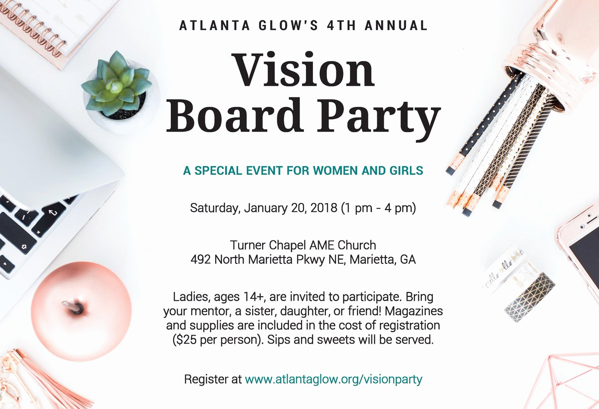 "Vision Board Party Invitation Elegant atlanta Glow On Twitter ""it's that Time Again We Invite"