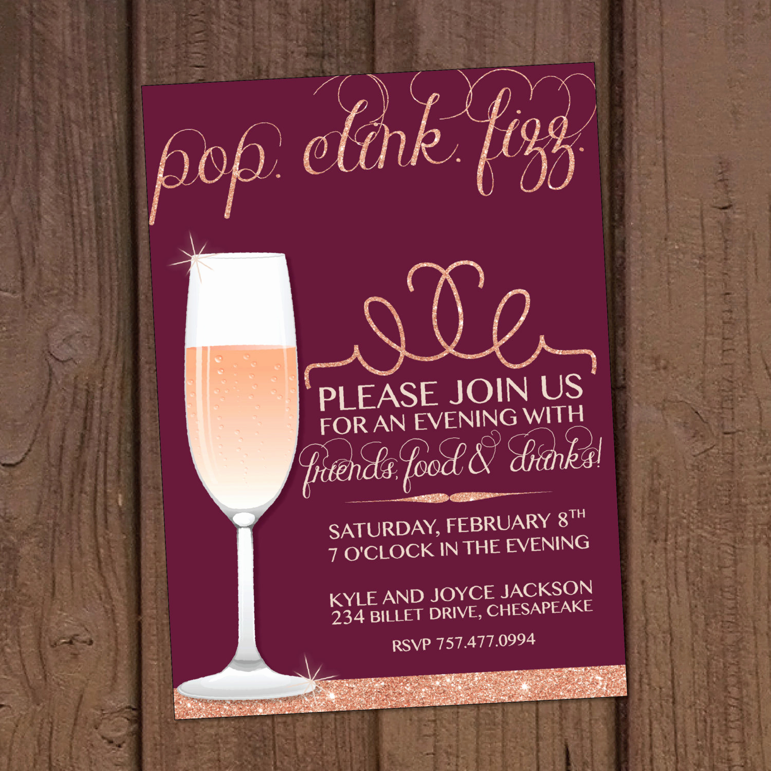 Vision Board Party Invitation Inspirational Champagne Cocktail Dinner Party Invitation
