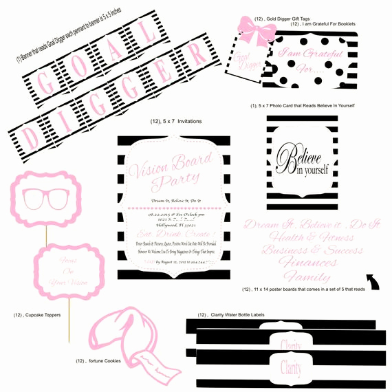 Vision Board Party Invitation New Vision Board Party Package Vision Board Invitations by