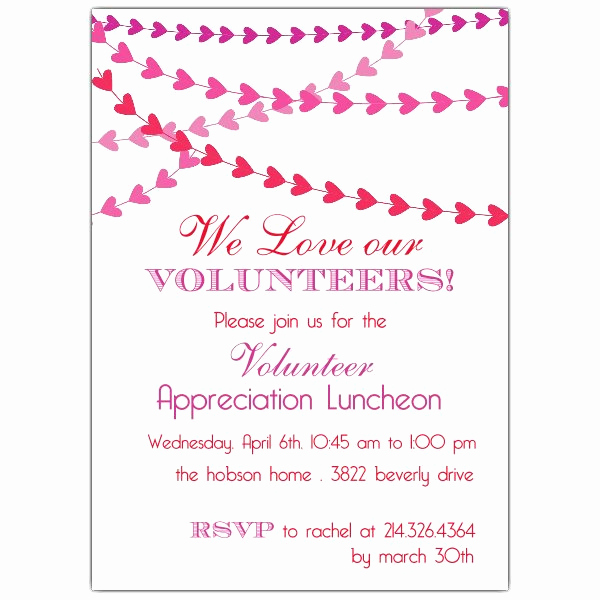 Volunteer Appreciation Invitation Wording Awesome Heart Banner Volunteer Luncheon Invitations