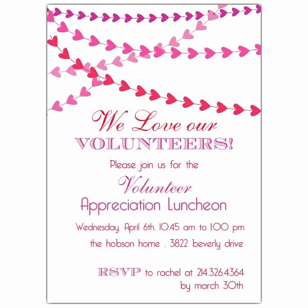 Volunteer Appreciation Invitation Wording Awesome Heart Banner Volunteer Luncheon Invitations