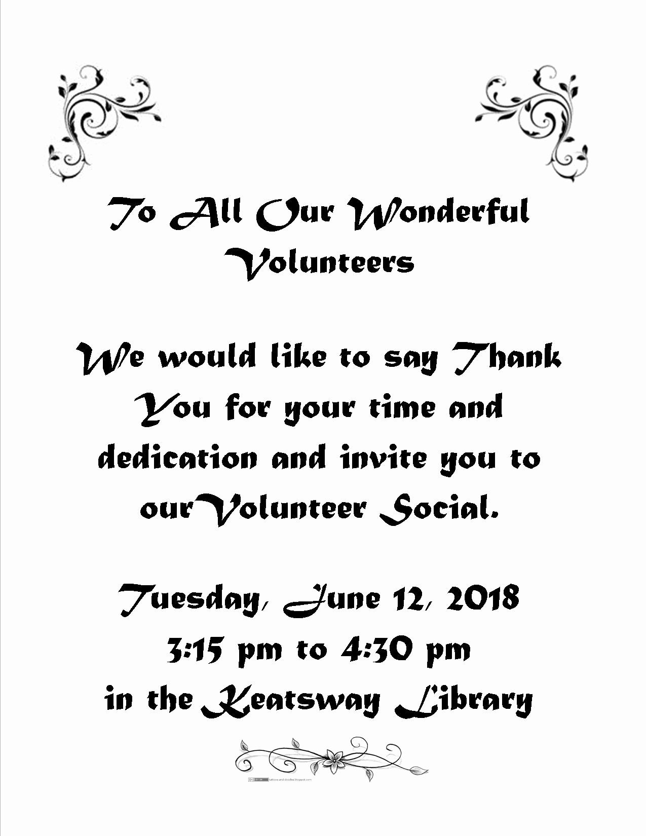 Volunteer Appreciation Invitation Wording Beautiful Volunteer Appreciation Invitation Keatsway Public School