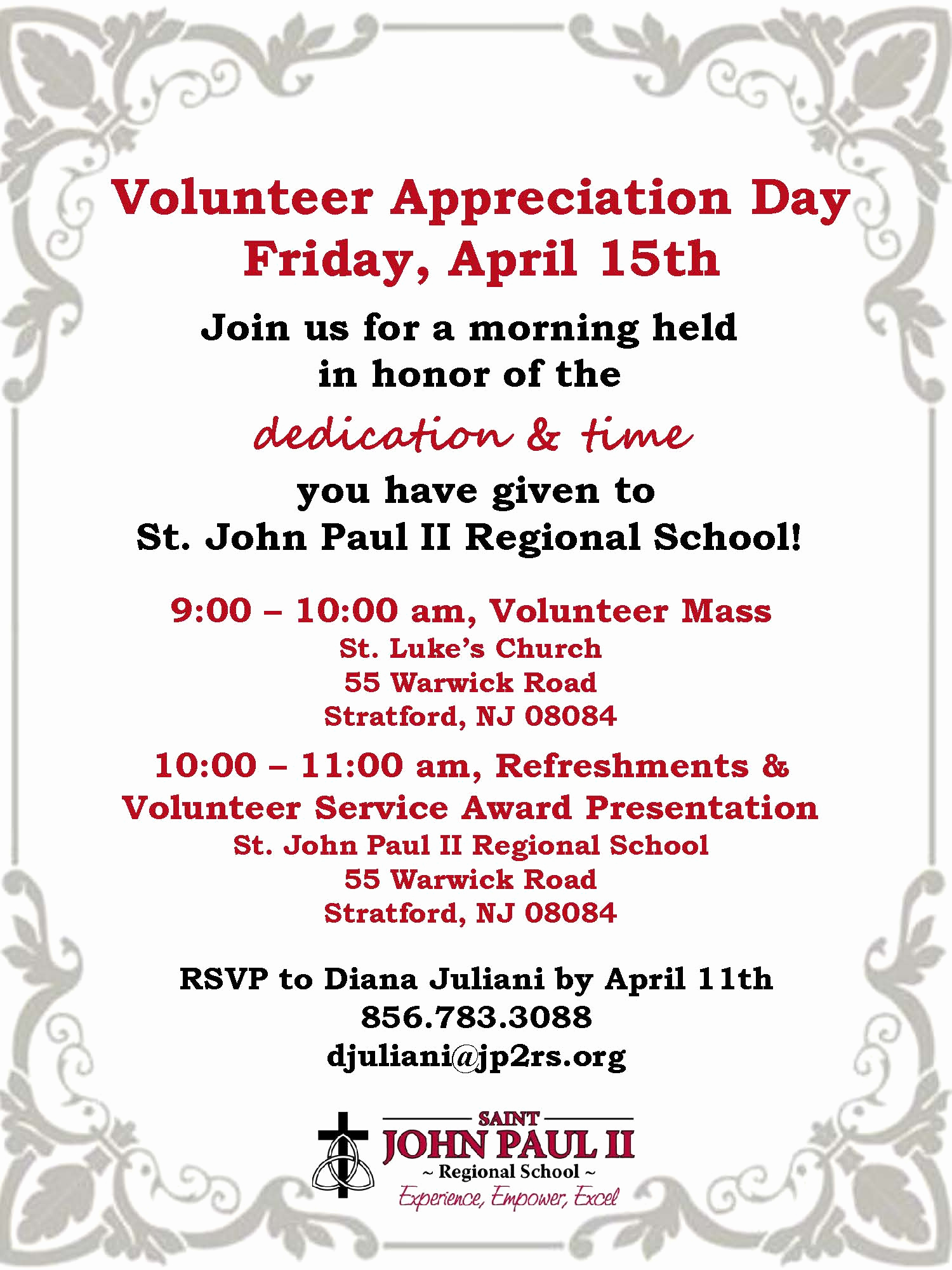 Volunteer Appreciation Invitation Wording Lovely Volunteer Invite 2016 – St John Paul Ii Regional School