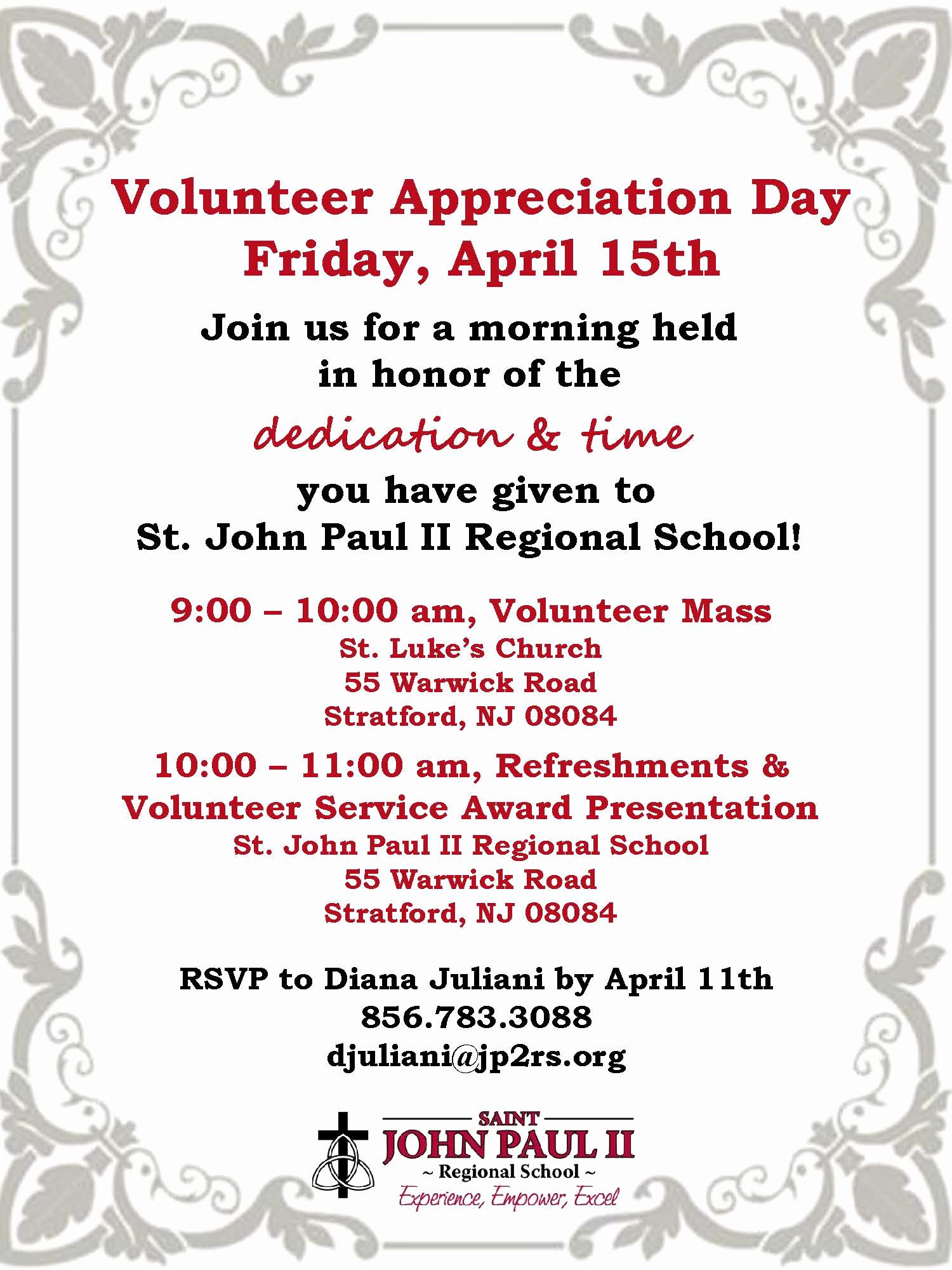 Volunteer Appreciation Invitation Wording Lovely Volunteer Invite 2016 – St John Paul Ii Regional School