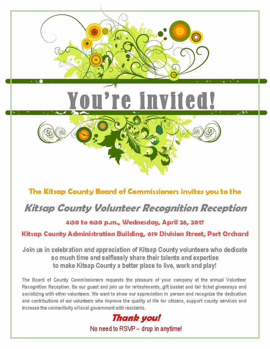 Volunteer Appreciation Invitation Wording Luxury Kitsap County Volunteer Recognition Reception