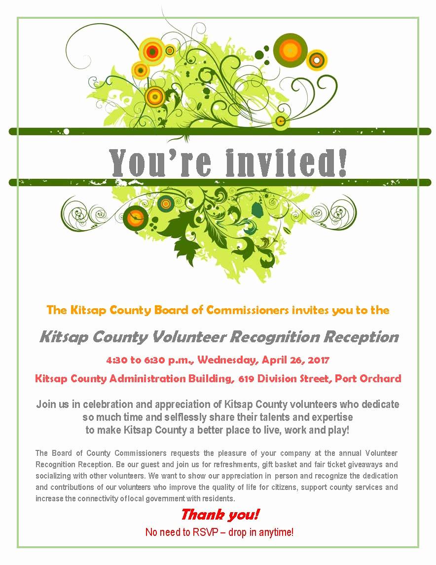 Volunteer Appreciation Invitation Wording Luxury Kitsap County Volunteer Recognition Reception
