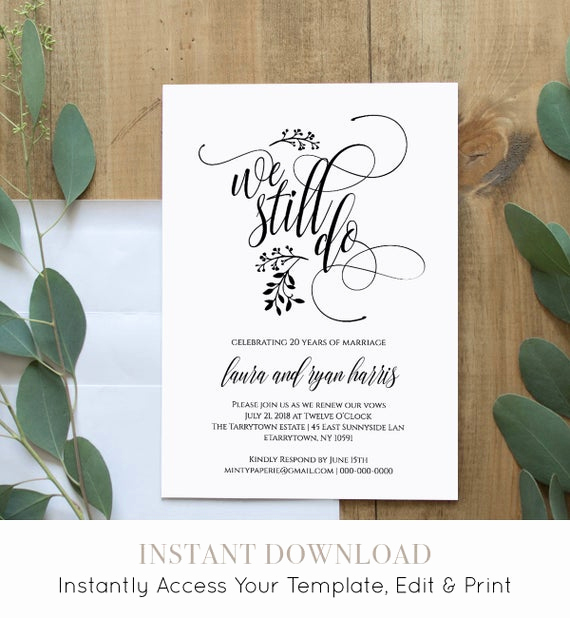 Vow Renewal Invitation Templates Free Awesome Vow Renewal Invitation Template Printable We Still Do