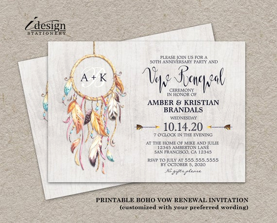 Vow Renewal Invitation Templates Free Beautiful Rustic Boho Vow Renewal Invitation Printable Bohemian Vow