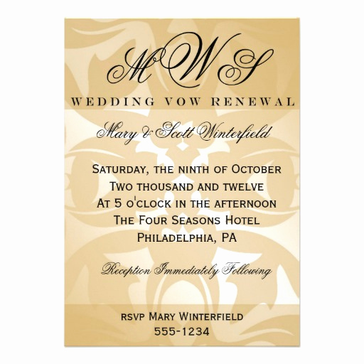 """Vow Renewal Invitation Templates Free Best Of Damask & Monogram Wedding Vow Renewal Invitations 5"""" X 7"""