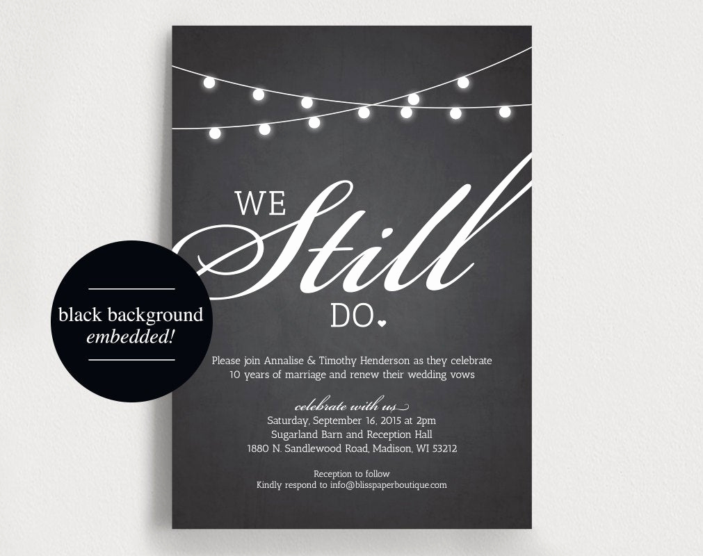 Vow Renewal Invitation Templates Free Inspirational We Still Do Vow Renewal Invitation Vow by Blisspaperboutique