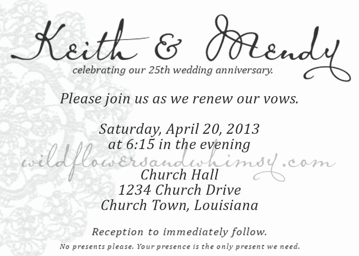 Vow Renewal Invitation Templates Free Lovely Anniversary Invitations Surprise 25th Wedding