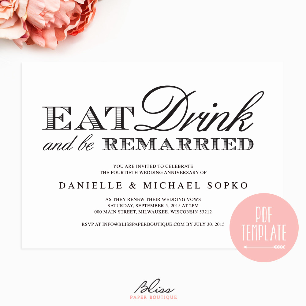 Vow Renewal Invitation Templates Free Lovely Vow Renewal Invitation Eat Drink and Be by Blisspaperboutique