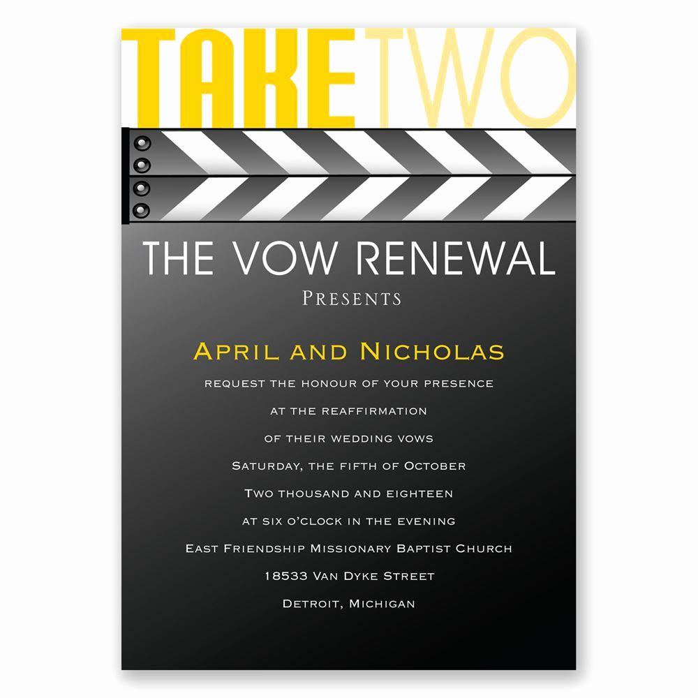 Vow Renewal Invitation Templates Free Luxury Take Two Vow Renewal Invitation