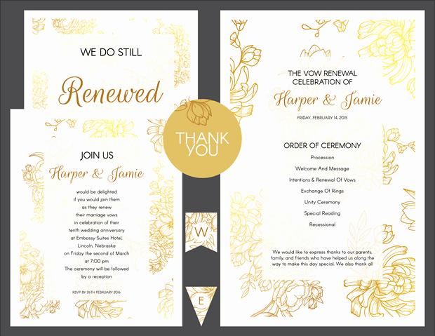 Vow Renewal Invitation Templates Free New Free Gold Floral Vow Renewal Invitation