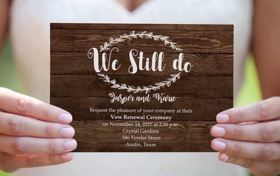 Vow Renewal Invitation Templates Free Unique Wedding Vow Renewal Invitation Rustic Wood Vow Invite Diy