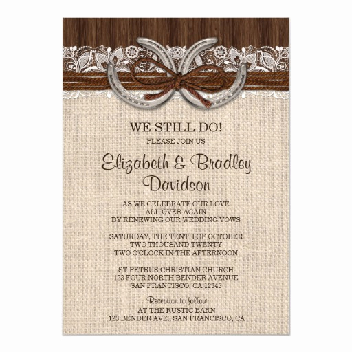 Vow Renewal Invitation Wording Beautiful Country Western Horseshoe Vow Renewal Invitation