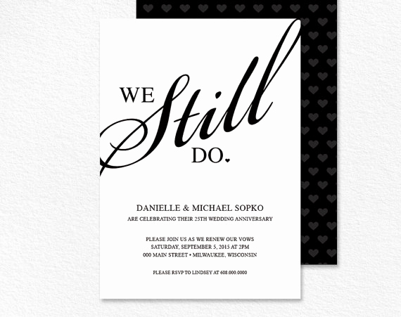 vow renewal invitation we still do black