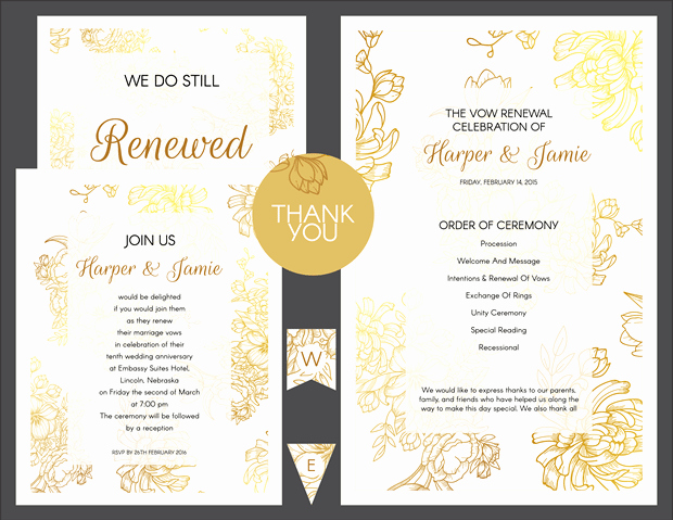 Vow Renewal Invitation Wording Elegant Free Gold Floral Vow Renewal Invitation