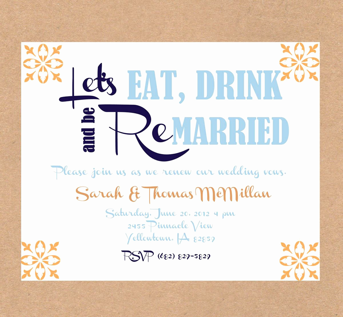 Vow Renewal Invitation Wording Inspirational Vow Renewal Invitation Eat Drink and Be Married