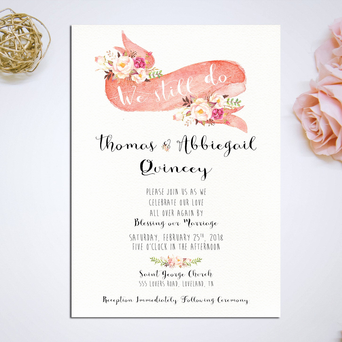 Vow Renewal Invitation Wording Lovely Vow Renewal Invitation We Still Do Romantic Pink