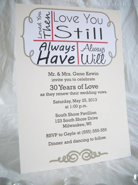 Vow Renewal Invitation Wording New Love You Still Vow Renewal Invitation Digital File