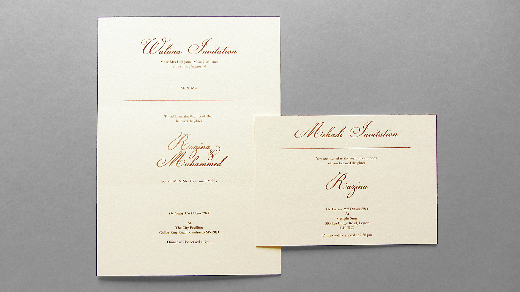 Walima Invitation Cards Wordings Elegant Razina & Muhammed Walima & Mehndi Invitations Freestyle
