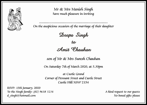 Walima Invitation Cards Wordings Inspirational Hindu Wedding Cards Wordings