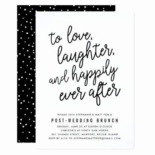 Wedding after Party Invitation Wording Beautiful Happily Ever after Post Wedding Brunch Invitation