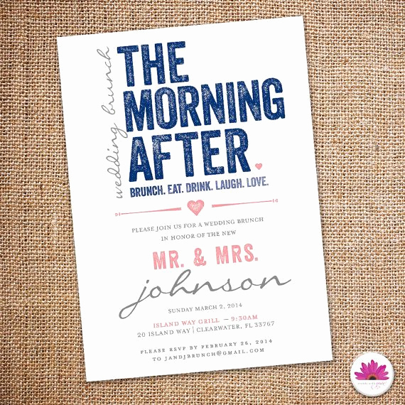 Wedding after Party Invitation Wording Beautiful the Morning after Wedding Brunch Invitation 5 X 7