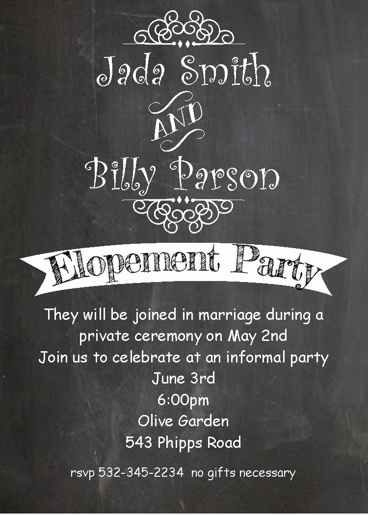 Wedding after Party Invitation Wording New Pin by On Eloping Party