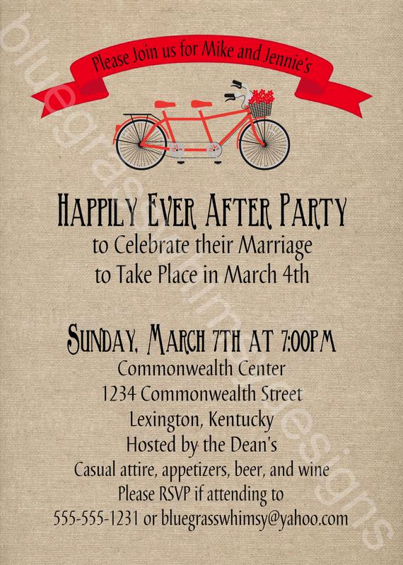 Wedding after Party Invitation Wording Unique Tandem Bicycle Rustic Burlap Linen Post Wedding
