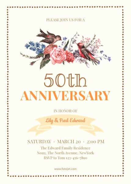 Wedding Anniversary Invitation Template Beautiful Free 50th Wedding Anniversary Invitations Templates