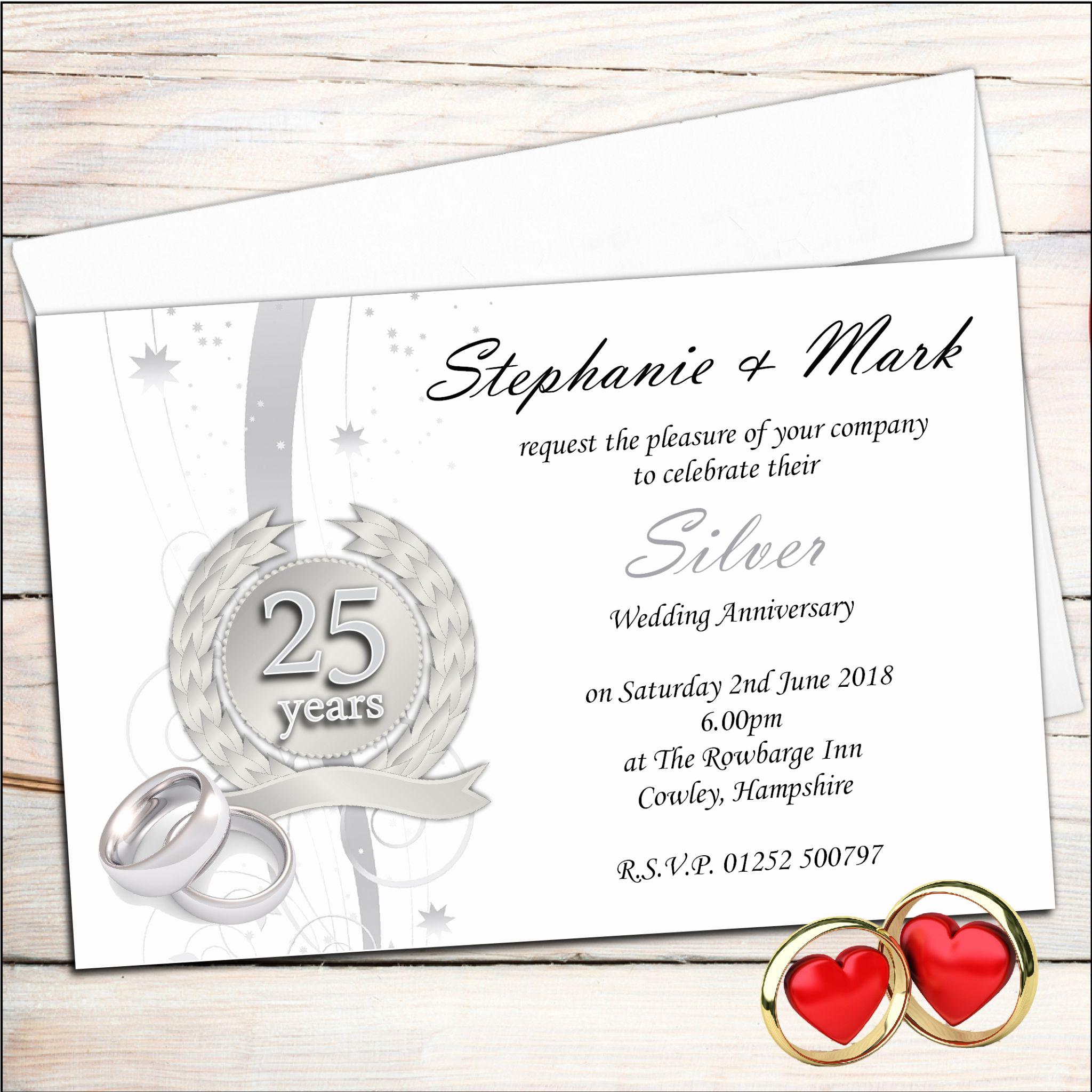 Wedding Anniversary Invitation Template Best Of Anniversary Invitations 25th Silver Wedding Anniversary